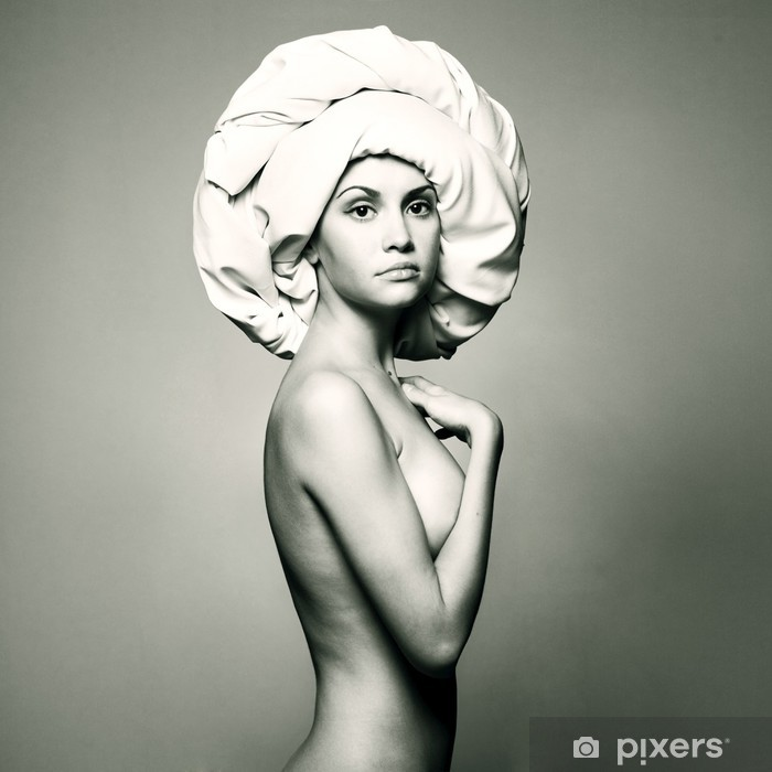 Nude woman in fashionable turban Poster - Themes