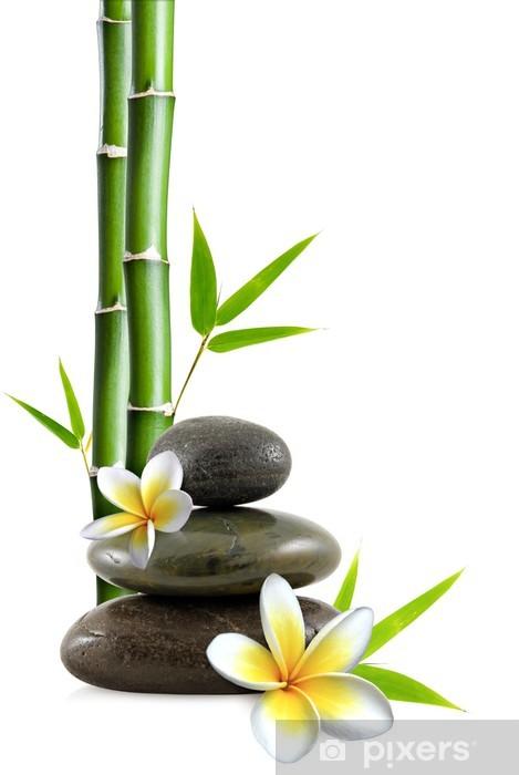 Papier peint vinyle Fleurs de frangipanier, galets zen et bambou - Styles
