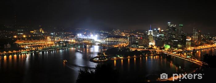 Papier peint vinyle Ville de Pittsburgh la nuit - Amérique