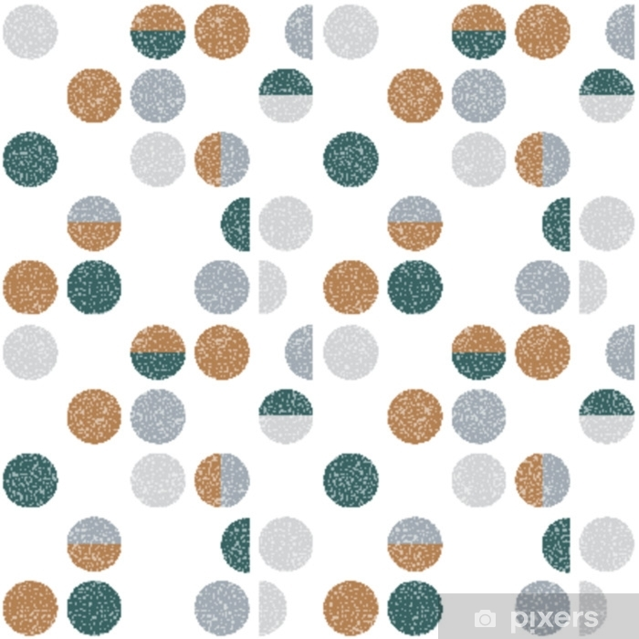 Pixerstick Sticker Abstract geometrisch behang met halve cirkels en cirkels. naadloze patroon in Scandinavische stijl. vector achtergrond. - Grafische Bronnen