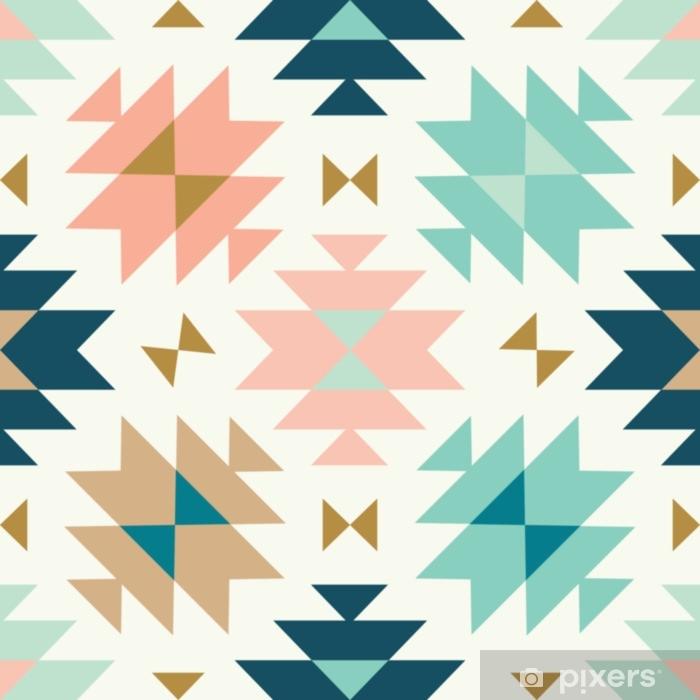 Papier peint vinyle Vecteur Kilim tribal crème vert et rose sans soudure répétition backround - Ressources graphiques