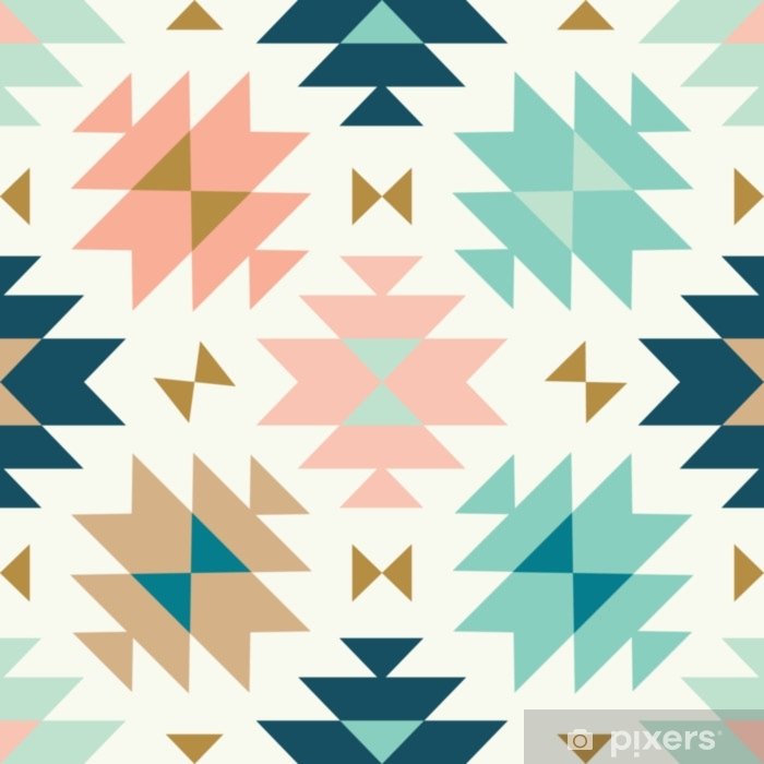 vector kilim tribal cream green and pink seamless repeat backround Vinyl Wall Mural - Graphic Resources