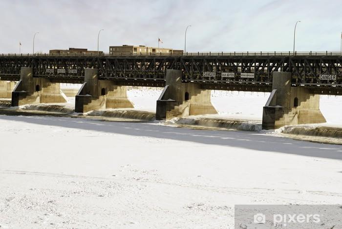 Fototapeta winylowa Dam Winter - Infrastruktura