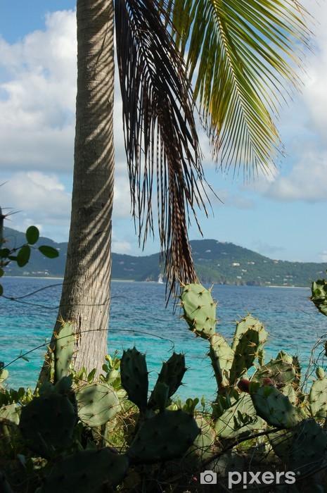 Pixerstick Aufkleber Kakteen und Palmen am einsamen Insel - Urlaub