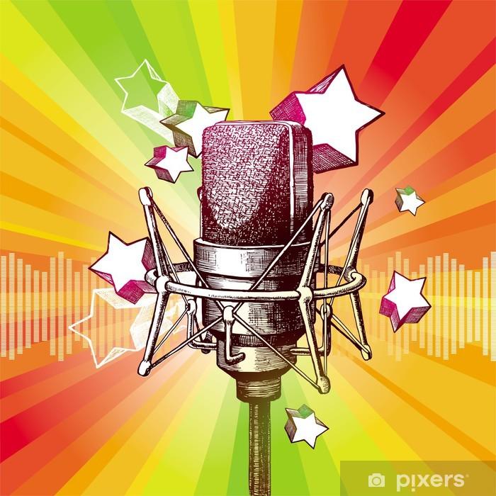 Fototapeta winylowa Wyciągnąć rękę mikrofon i gwiazdki - Hip Hop