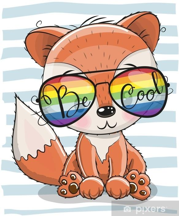 Cute Fox with sun glasses Sticker - Pixerstick