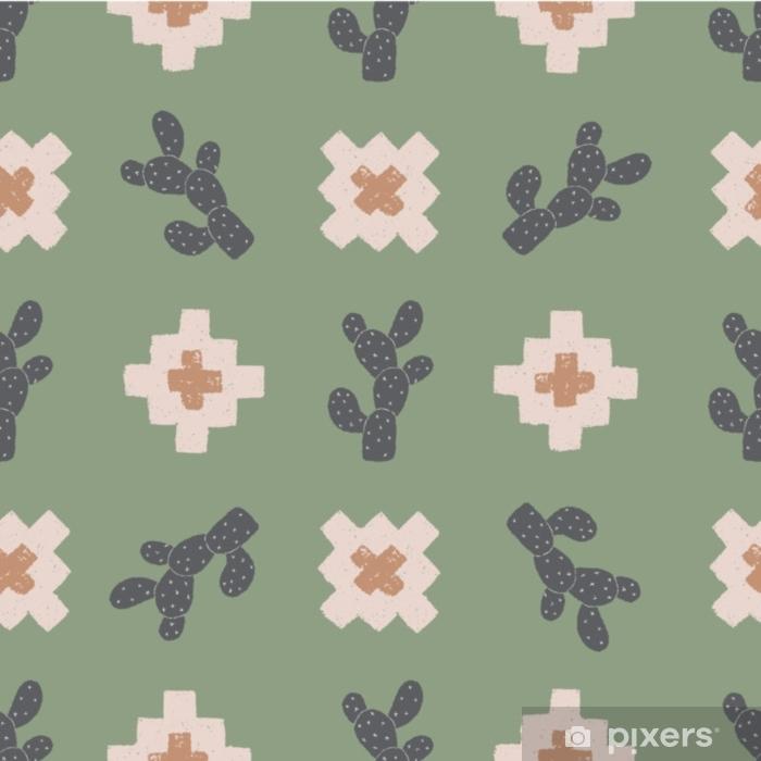 Fototapeta winylowa Wektor kaktus plus zielony bezszwowe tło wzór powtórzyć - Zasoby graficzne