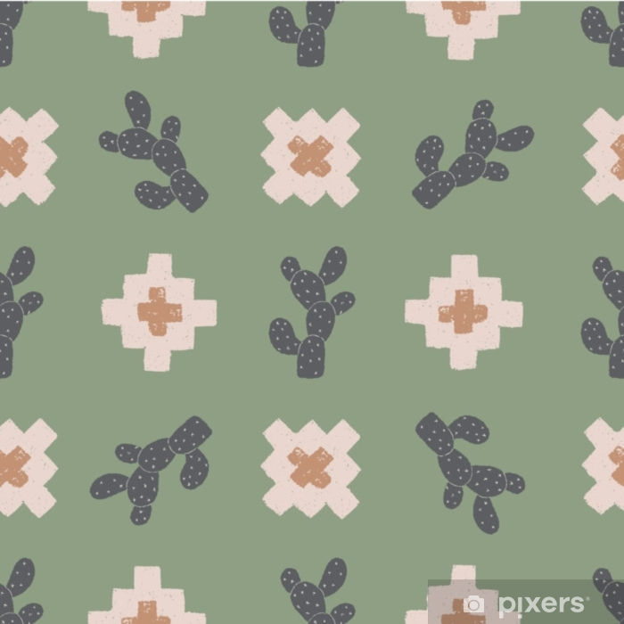 vector cactus plus green seamless repeat pattern background Vinyl Wall Mural - Graphic Resources
