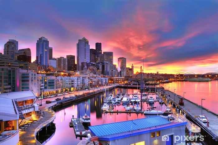 Seattle skyline and waterfront in sunrise Vinyl Wall Mural - Themes