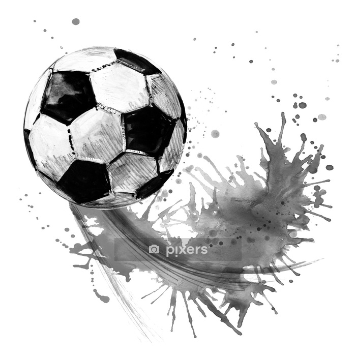 Vinilo para Pared Balón de fútbol. Ilustración de fútbol acuarela dibujado a mano - Deportes