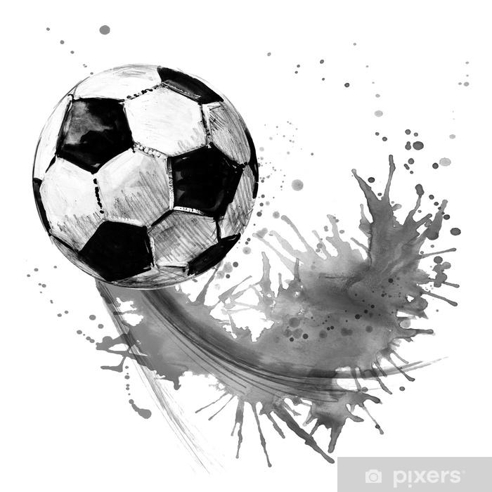 Adesivo Pixerstick Palla da calcio. illustrazione disegnata a mano dell'acquerello di calcio - Sport