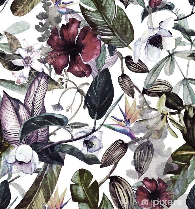 Naklejka Pixerstick Bez szwu akwarela wzór z tropikalnych kwiatów, magnolii, kwiat pomarańczy, wanilii orchidei, liści tropikalnych, liści bananowca - Rośliny i kwiaty