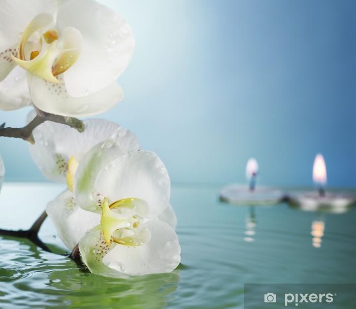 Vinylová fototapeta Orchidej a svíčky ve vodě - Vinylová fototapeta