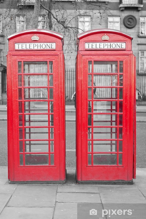 Two typical London red phone cabins with a desaturated backgroun Pixerstick Sticker - Themes