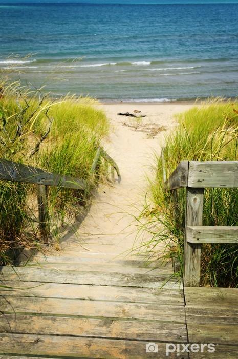 Vinilo Pixerstick Escaleras de madera sobre las dunas en la playa - Vacaciones