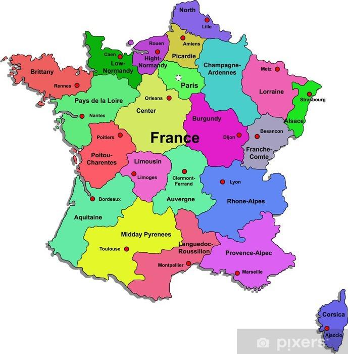 Frankrig Kort Pa Hvid Baggrund Fototapet Pixers Vi Lever For