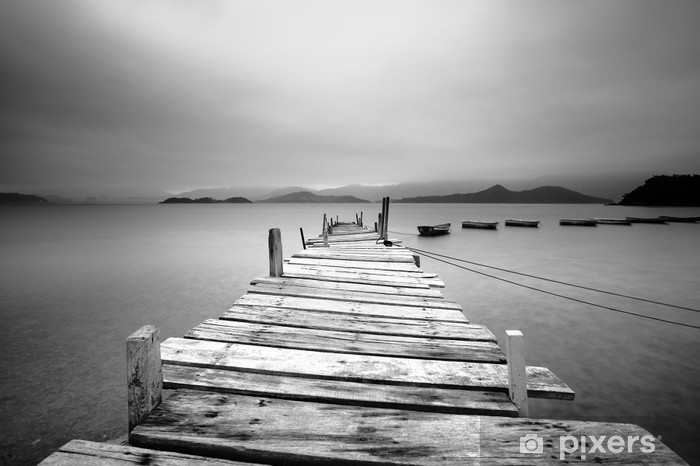 Looking over a pier and boats, black and white Pixerstick Sticker - Styles