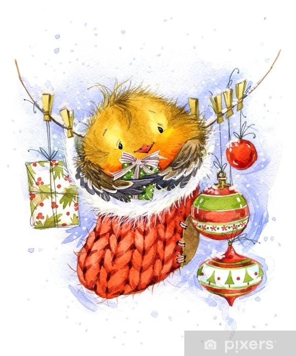 Fototapeta Roztomily Zimni Ptak Vanocni Pozdrav Novy Rok Akvarel