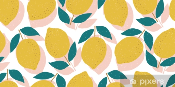 vector seamless lemon pattern, summer fruit design Vinyl Wall Mural - Graphic Resources