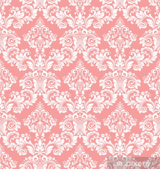 Naklejka Pixerstick Tapeta w stylu barokowym. bezszwowe tło wektor. biały i różowy kwiatowy ornament. graficzny wzór tkaniny, tapety, opakowania. ozdobny kwiat adamaszku - Zasoby graficzne
