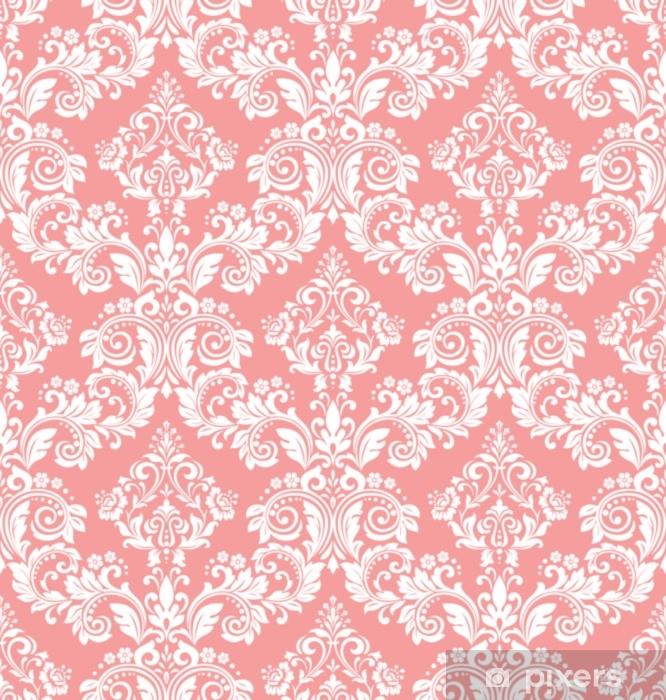 Taustakuva barokin tyyliin. saumaton vektori tausta. valkoinen ja vaaleanpunainen kukka koristeena. graafinen kuvio kangasta, tapetti, pakkaus. ornate damask kukka koristeena Vinyyli valokuvatapetti - Graafiset Resurssit