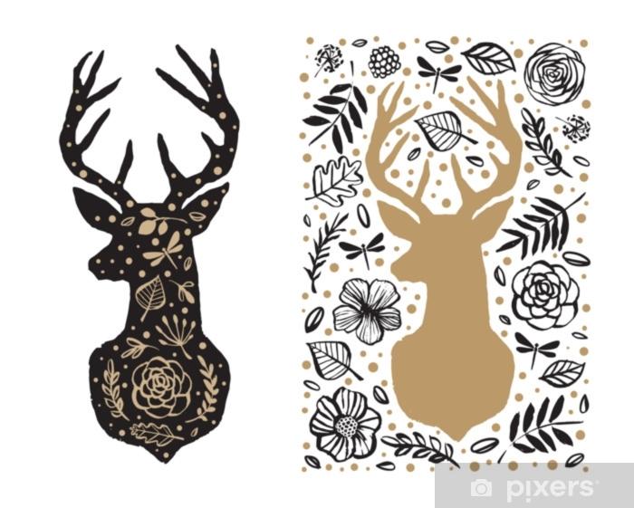 Vinylová fototapeta Silueta jelena v květinovém vzoru. ručně kreslených  konstrukčních prvků. černé a bílé f9d52c85aa