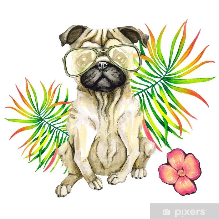 Mopsi koira aurinkolasit, palmu ja kukka lehdet eristetty valkoisella pohjalla Pixerstick tarra - Eläimet