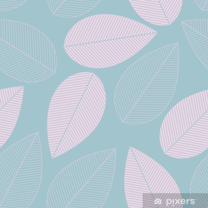 Pixerstick Sticker Blad naadloze patroon blauwe en roze kleur. - Grafische Bronnen