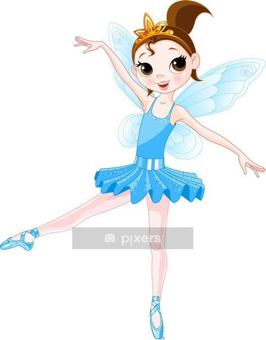 (Rainbow colors ballerinas series). Blue Ballerina Wall Decal - Wall decals