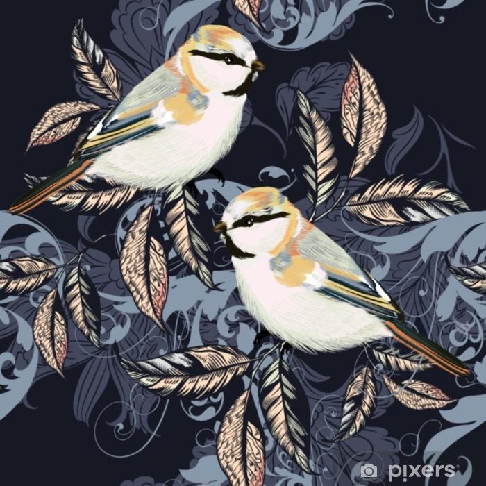 Kaunis kuvio ornamentti ja linnut vintage tyyliin Pixerstick tarra - Eläimet