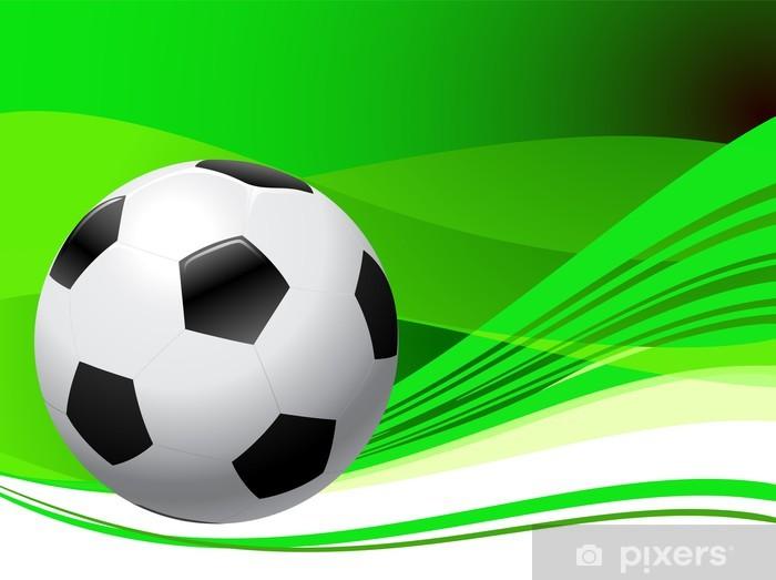 Nálepka Pixerstick Fotbalový míč na abstraktní zeleném pozadí - Individuální sporty