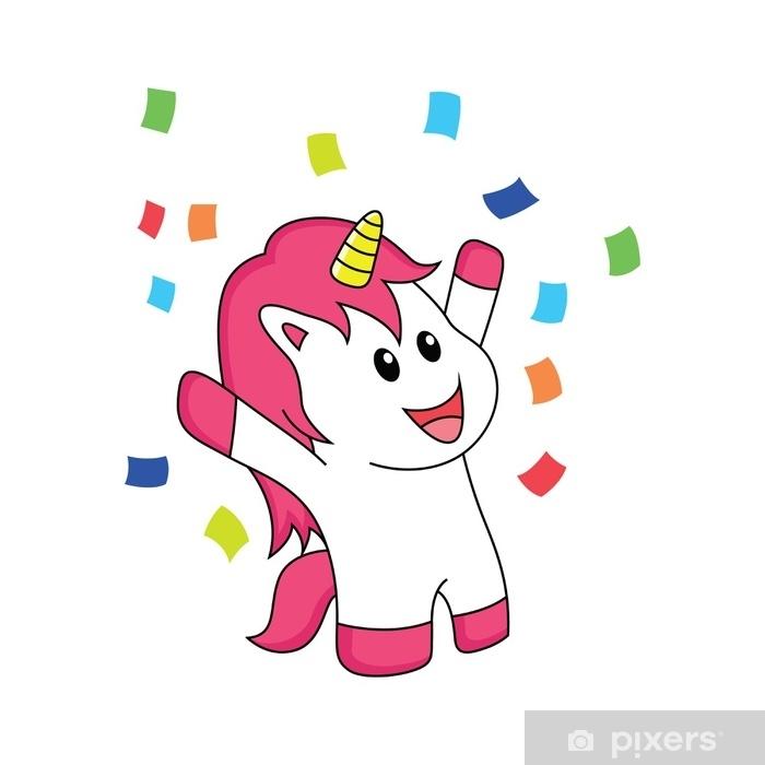 Sticker Pixerstick La licorne fête le bonheur - Animaux