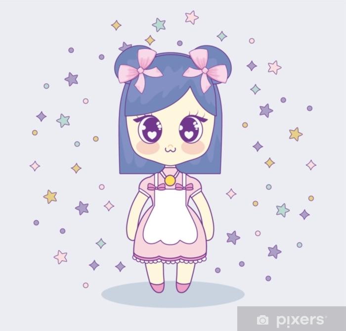 Carta Da Parati Ragazza Anime Kawaii Con Stelle Decorative Intorno