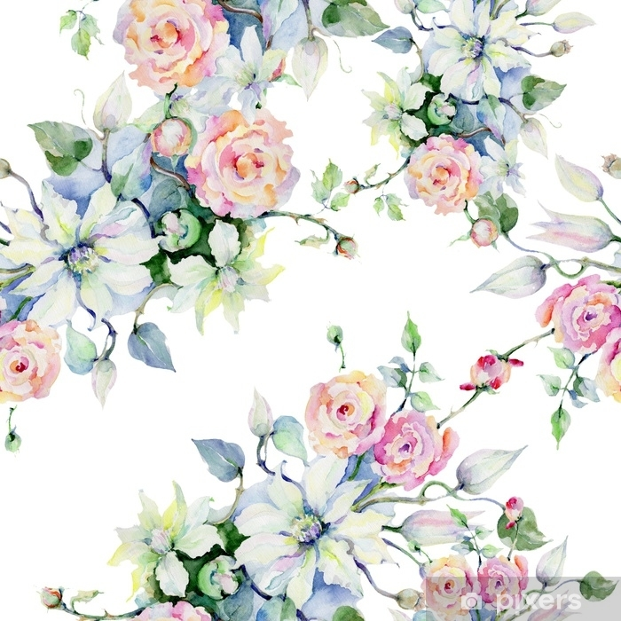 Tender Bouquet Flowers Seamless Background Pattern Fabric