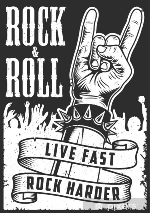 Papier Peint Main Dans Le Signe Du Rock N Roll