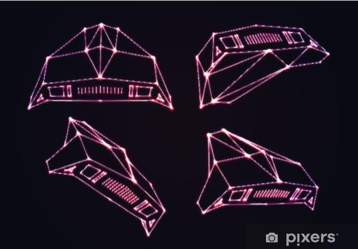 Vinyl Fotobehang Neon ruimteschepen set aanvallende indringers of verdedigende jagers met retro arcadespelstijl uit de jaren 80 en lasergeometrische contour - Technologie