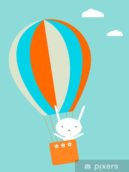 Sticker Pixerstick Ballon volant - Lapins