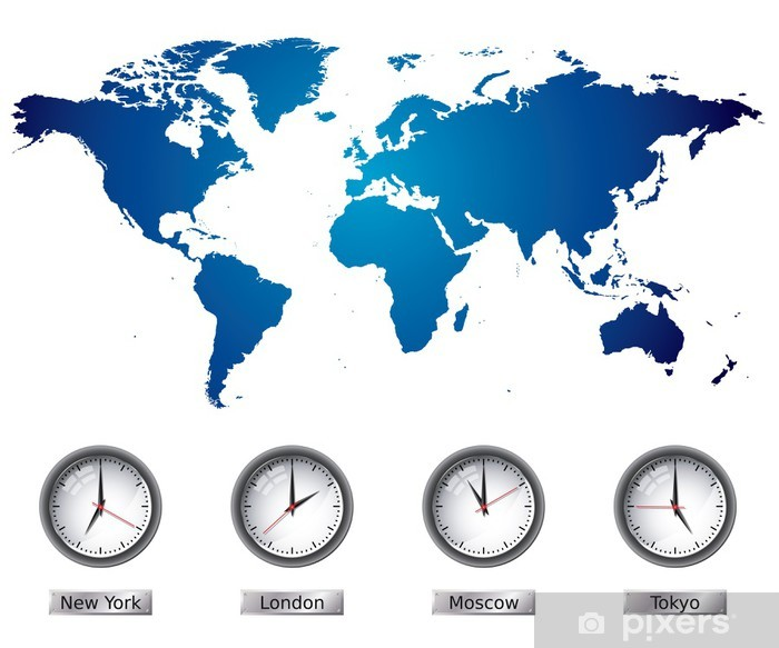 World Map And Time Zone Clocks Wall Mural Pixers We Live To Change