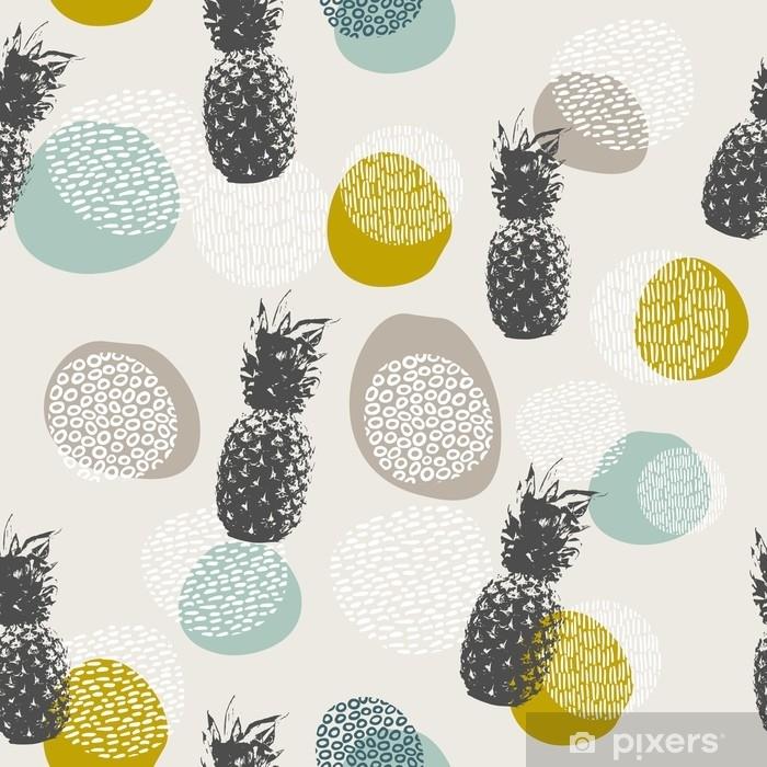 Carta da Parati in Vinile Sfondo di ananas estivo con decorazione boho - Risorse Grafiche