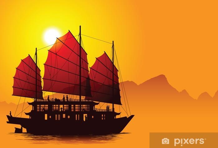 Silhouette of chinese junk Pixerstick Sticker - Asia