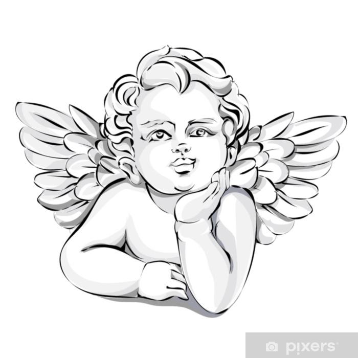 Papier peint vinyle Décor de mariage d'ange, illustration vectorielle Saint-Valentin Cupidon, noir et blanc - Personnes