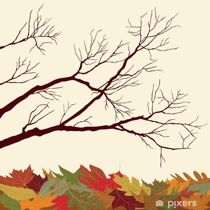 Vinylová fototapeta Holé větve s spadané listí - Vinylová fototapeta