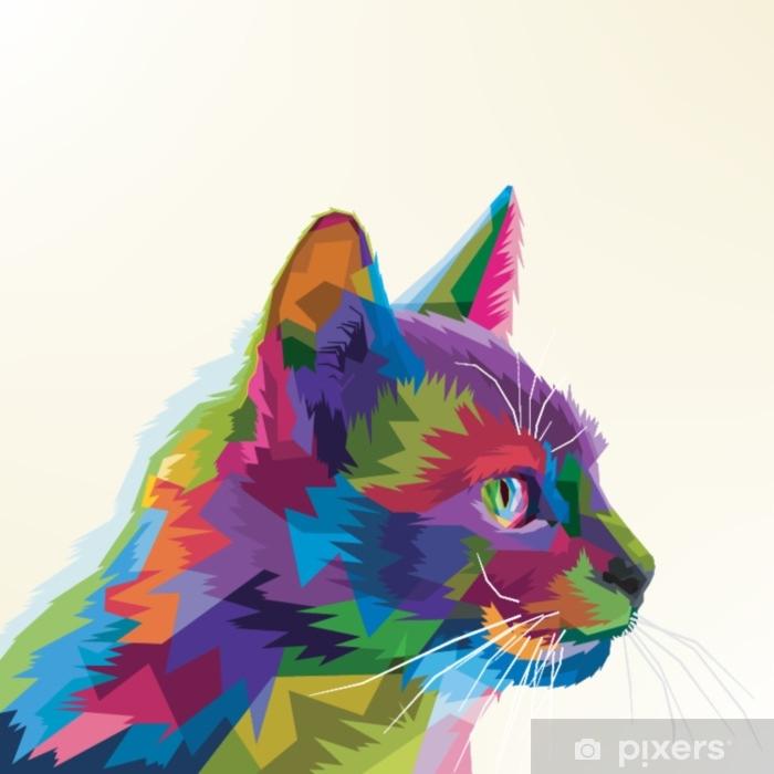 Adesivo Para Porta Gato Dos Desenhos Animados Colorido Pixers