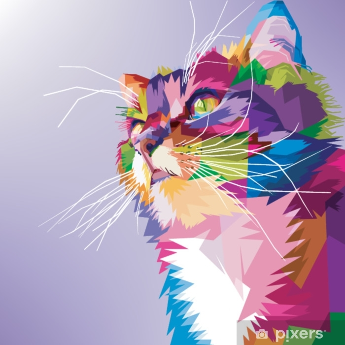 cat cute pop art colorful Washable Wall Mural - Animals