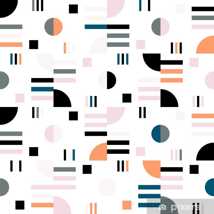 Geometric vector seamless pattern in retro style . Modern background with circles, lines and other simple shapes. Vinyl Wall Mural - Graphic Resources