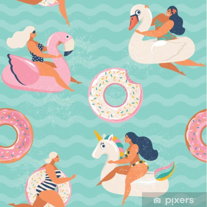 Flamingo, unicorn, swan and sweet donut inflatable swimming pool floats  Vector seamless pattern. Poster