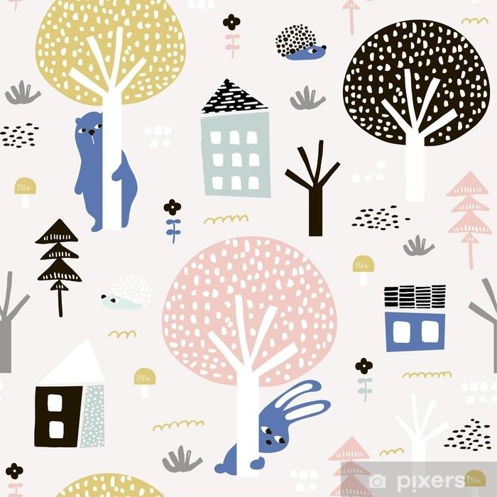 d6c20726b Fototapet av vinyl Sømløs mønster med kanin, bjørn, pinnsvin og floral  elementer, grener. kreativ skogsmark bakgrunn. perfekt for barneklær, ...