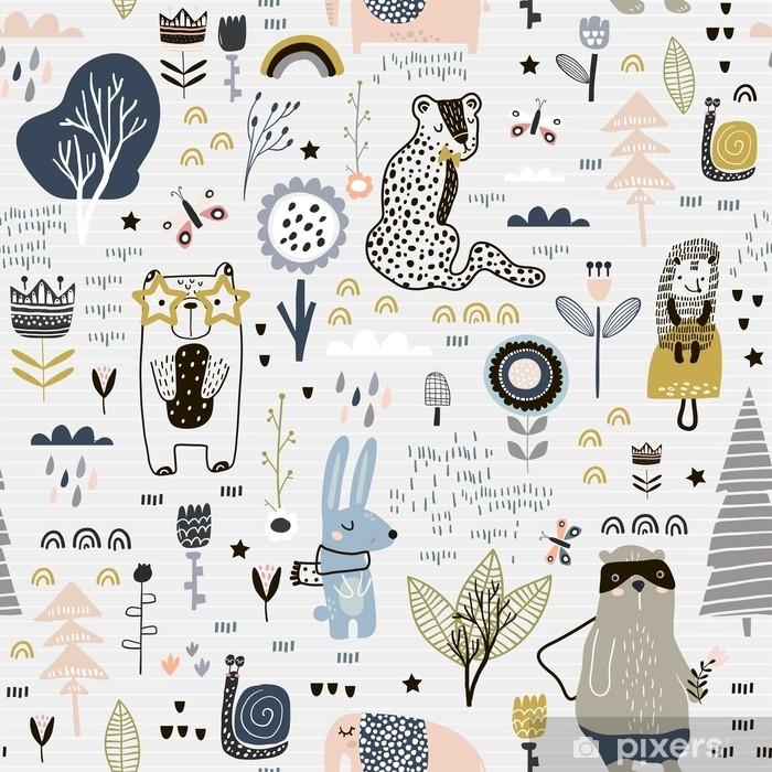 Fototapeta winylowa Bez szwu dziecinna wzór z bajki kwiaty, niedźwiedź, króliczek, lampart, jeż .. twórczy dzieci tekstury miasta dla tkaniny, opakowania, tkaniny, tapety, ubrania. ilustracji wektorowych - Zasoby graficzne