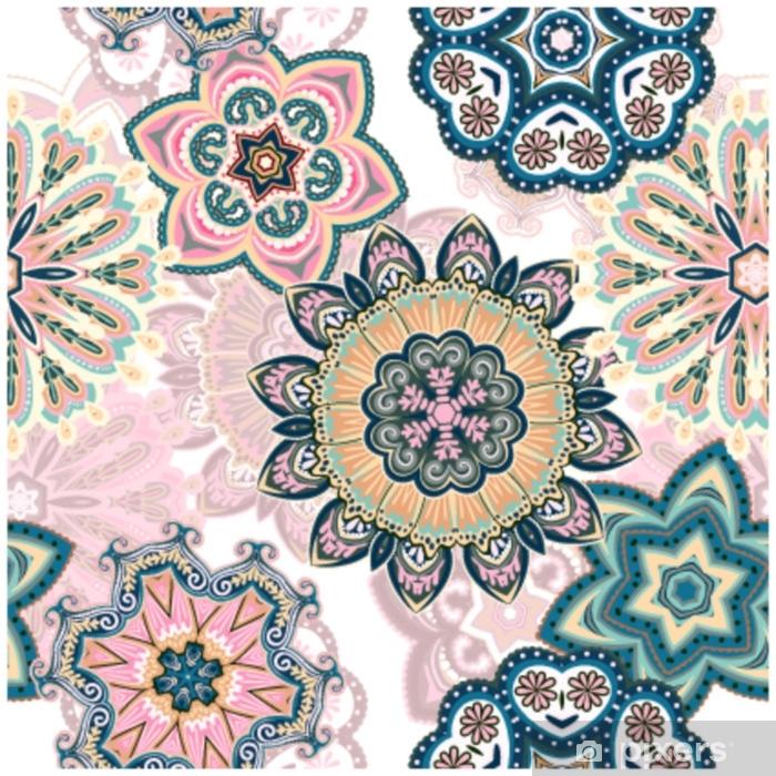 Afwasbaar Fotobehang Naadloos mandalapatroon om op stof of document af te drukken. hand getrokken achtergrond. kleurrijke, pastel print. - Grafische Bronnen