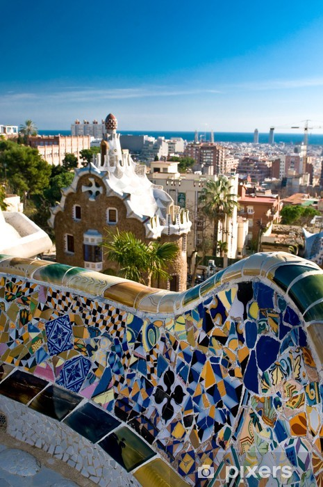 Carta Da Parati Panchina Mosaico In Park Guell A Barcellona